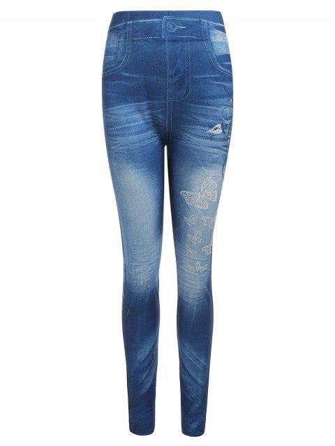 Legging Motif de Papillon en Faux Denim - Paon Bleu ONE SIZE