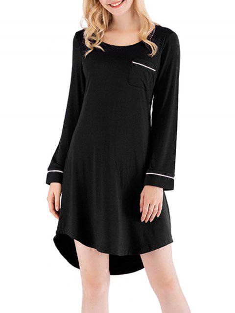 Contrast High Low Sleeping Dress - BLACK 2XL