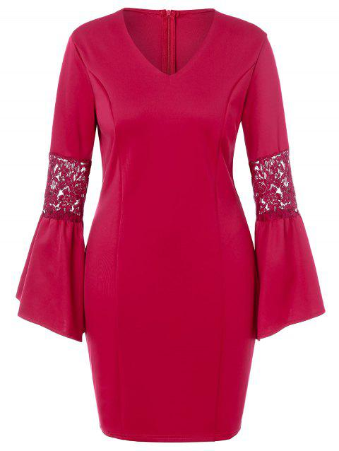 Plus Size Lace Panel Bell Sleeve Bodycon Dress - ROSE RED 1X