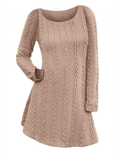 Long Sleeve Cable Knit Tunic Sweater Dress - WOOD L
