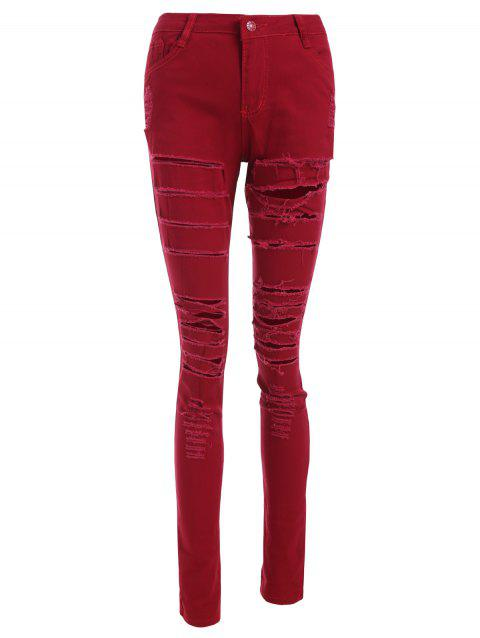 Ripped Zip Fly Skinny Jeans - CHERRY RED S