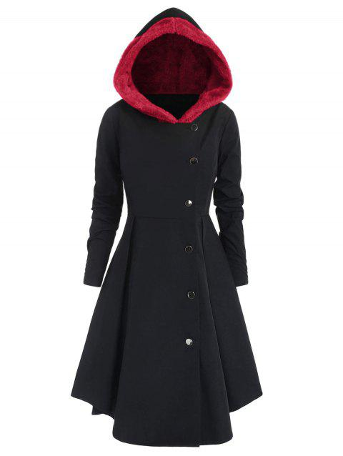 Plus Size Asymmetric Fleece Contrast Hooded Skirted Coat - RED 5X