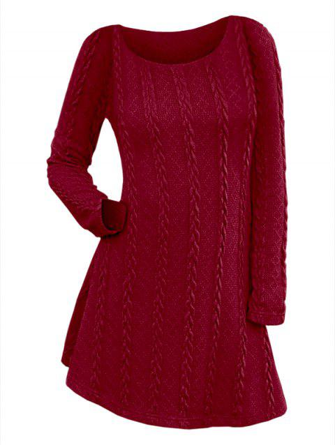 Long Sleeve Cable Knit Tunic Sweater Dress - RED WINE M
