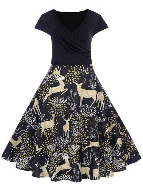 Christmas Deer Print Midi Fit and Flare Dress - BLACK XL