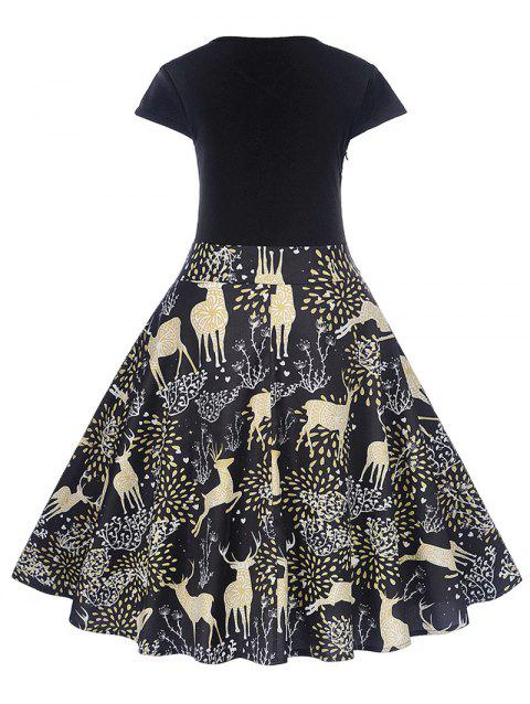 73bb5c2a157b 81% OFF] 2019 Christmas Deer Print Midi Fit And Flare Dress In BLACK ...