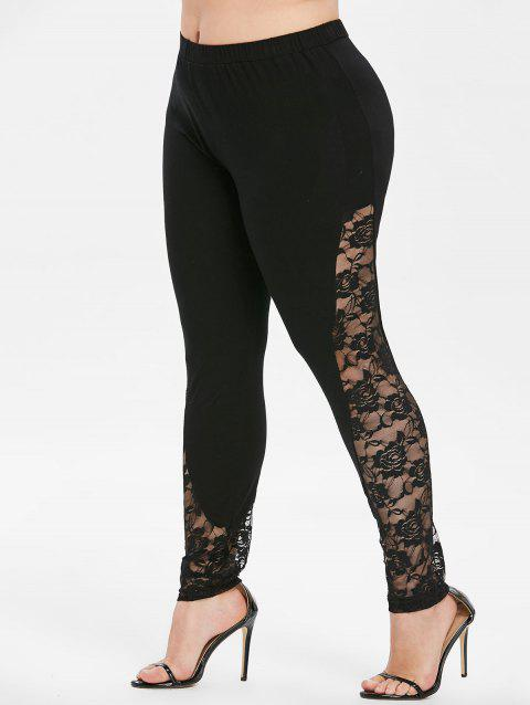 Plus Size Sheer Mesh Panel Skinny Leggings - BLACK 3X