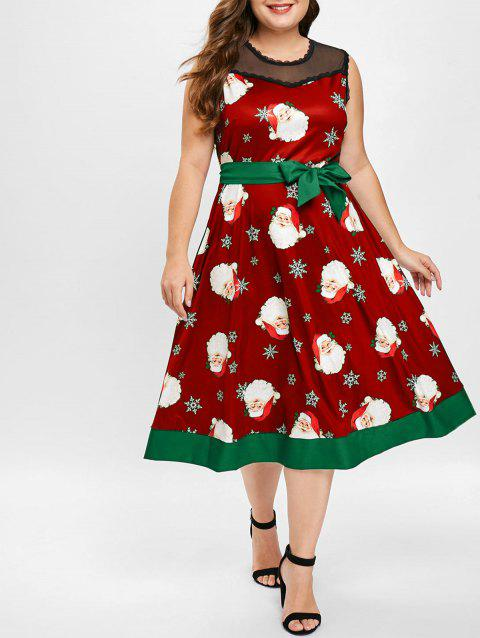 Plus Size Mesh Panel Christmas Santa Print Dress - RED 1X