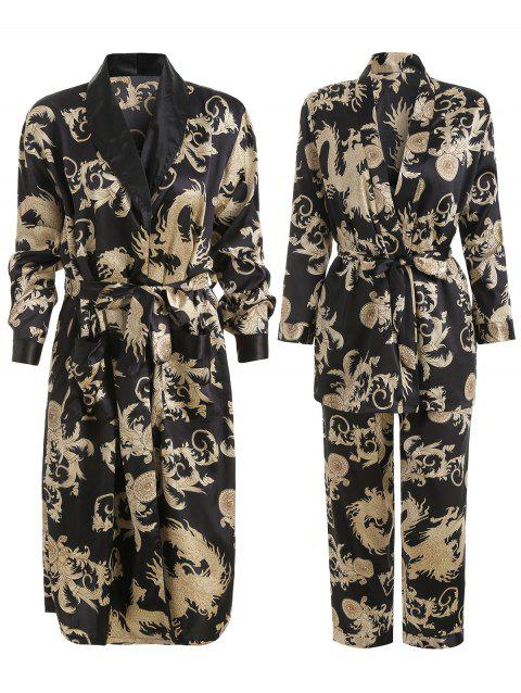 Patterned Matching Couple Pajamas - BLACK WOMEN L