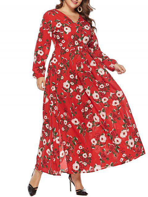 Plus Size High Waisted Floral Slit Dress - RED 2X
