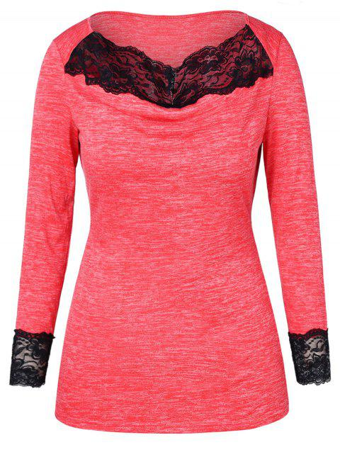 Lace Panel Marled Plus Size T-shirt - BEAN RED 5X