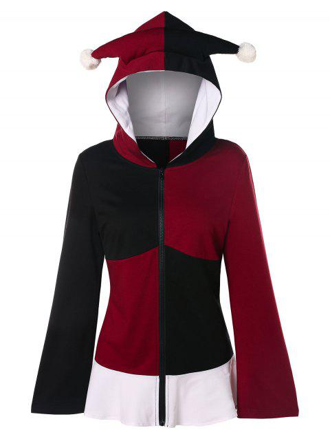 Lace Up Color Block Gothic Hoodie - multicolor XL