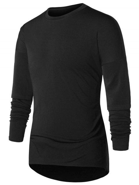 Faux Twinset Drop Shoulder T-shirt - BLACK 2XL
