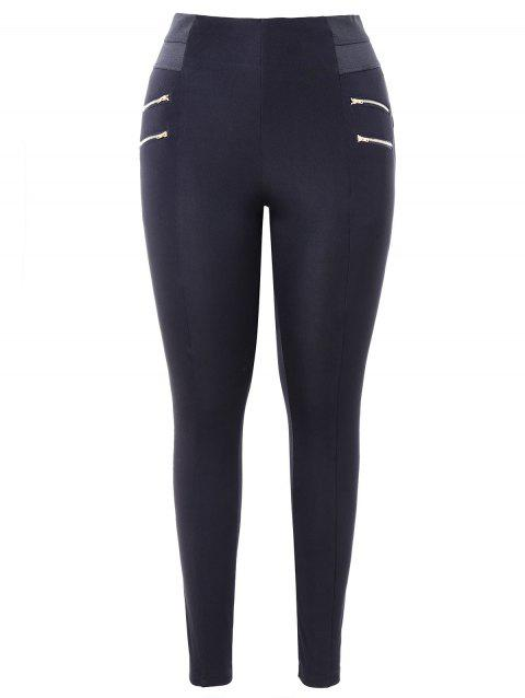 Plus Size Zips Embellished Leggings - BLACK 3X