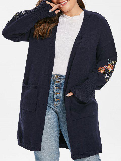 Plus Size Floral Embroidered Bell Sleeve Cardigan - DARK SLATE BLUE 1X