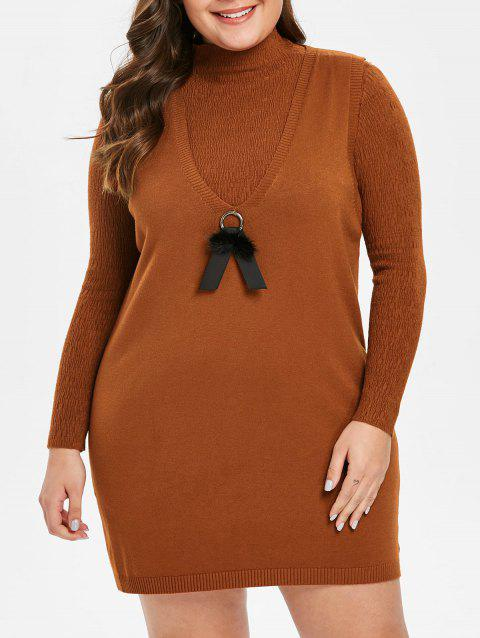 Plus Size Knitted V Neck Dress Set - RUST 2X