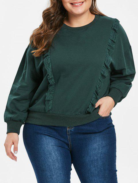 Plus Size Drop Shoulder Eeylet Sweatshirt - GREENISH BLUE ONE SIZE
