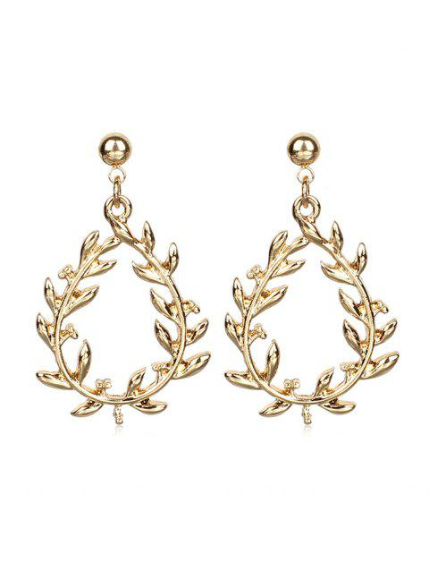 Leaves Pattern Hollow Out Earrings - GOLD
