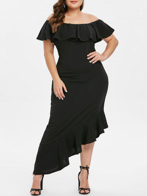 Off The Shoulder Plus Size Ruffle Hem Maxi Dress - BLACK 1X