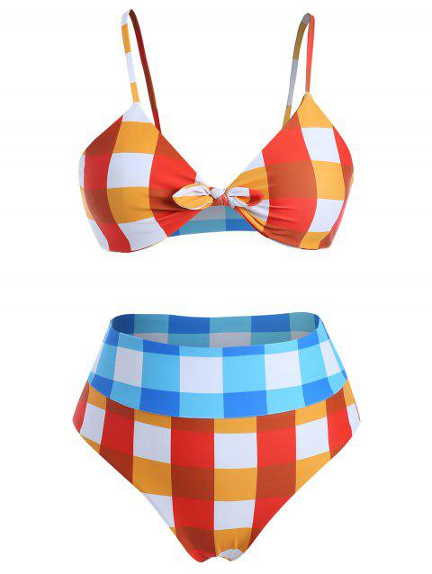 Plus Size Knotted Gingham Bikini Set - multicolor 3X