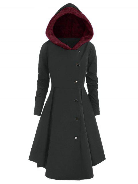 Plus Size Asymmetric Contrast Hooded Skirted Coat - CARBON GRAY 2X