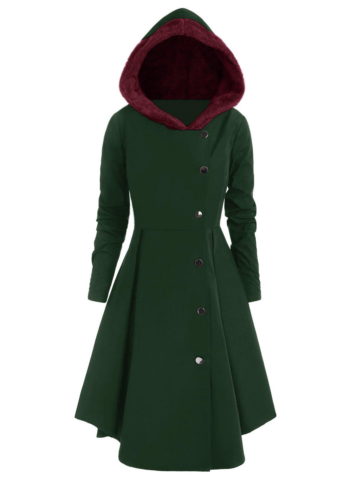 Plus Size Asymmetric Contrast Hooded Skirted Coat - DARK GREEN 3X
