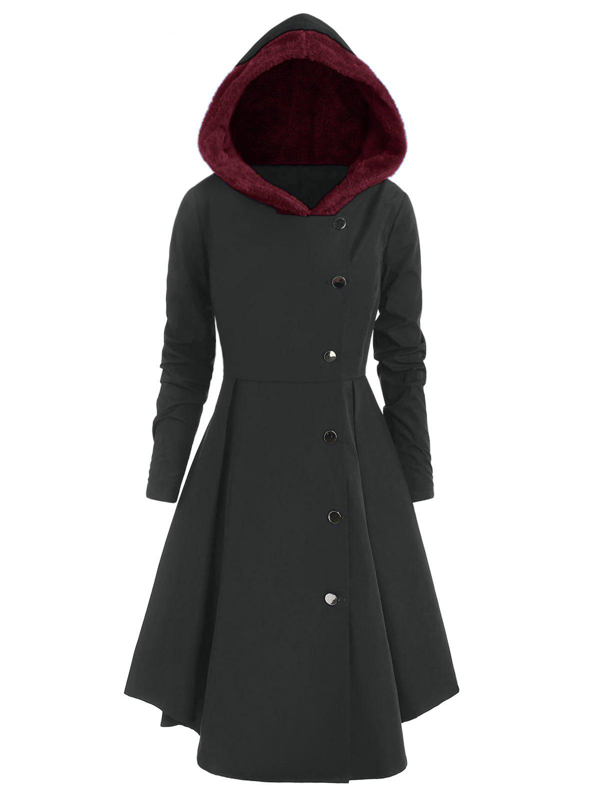 Plus Size Asymmetric Contrast Hooded Skirted Coat - CARBON GRAY L