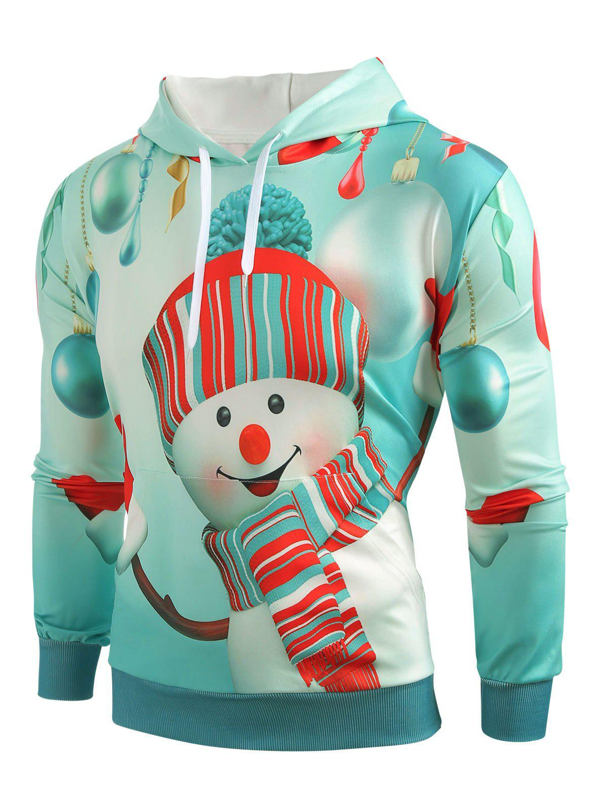 Christmas Snowman Print Kangaroo Pocket Hoodie - LIGHT SLATE L