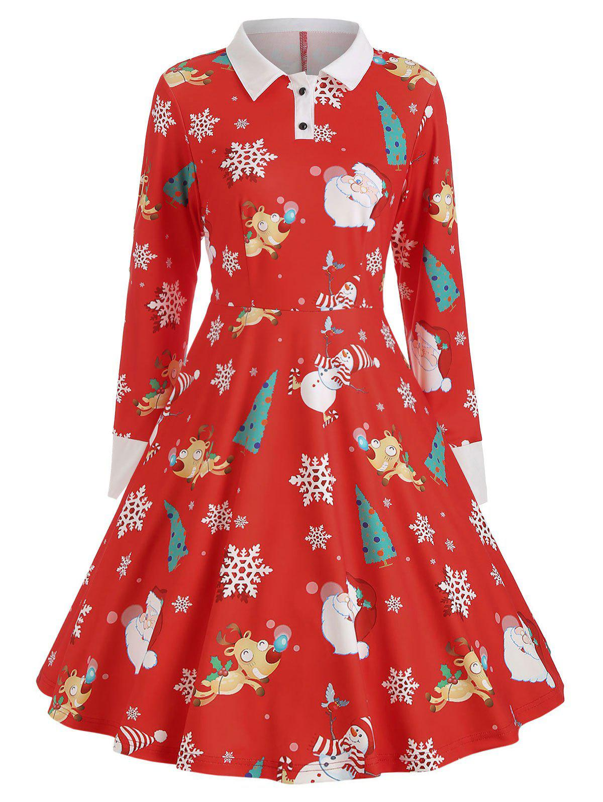 Christmas Print A-line Vintage Dress, Ruby red