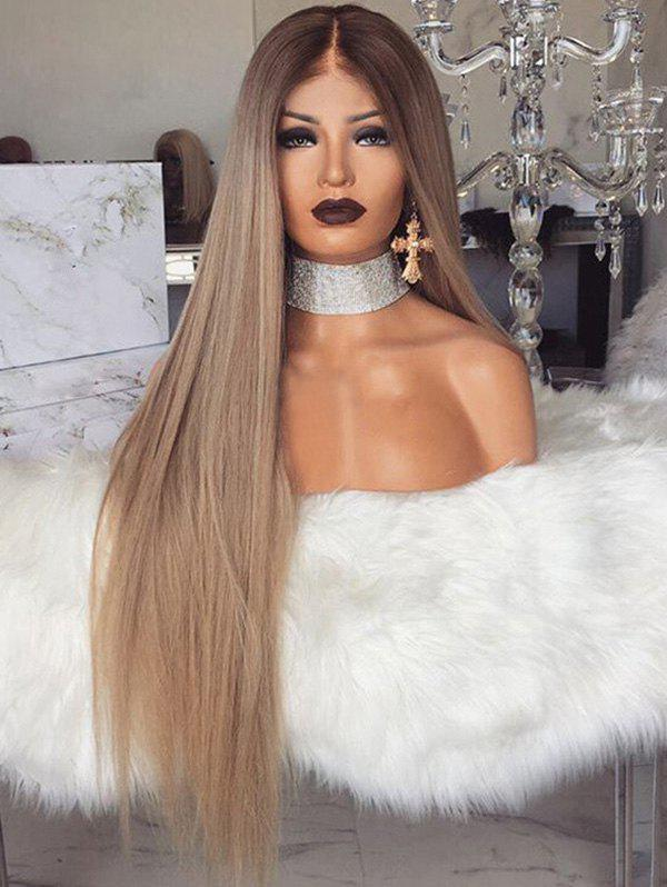Middle Part Long Straight Ombre Party Synthetic Wig - BROWN 26INCH