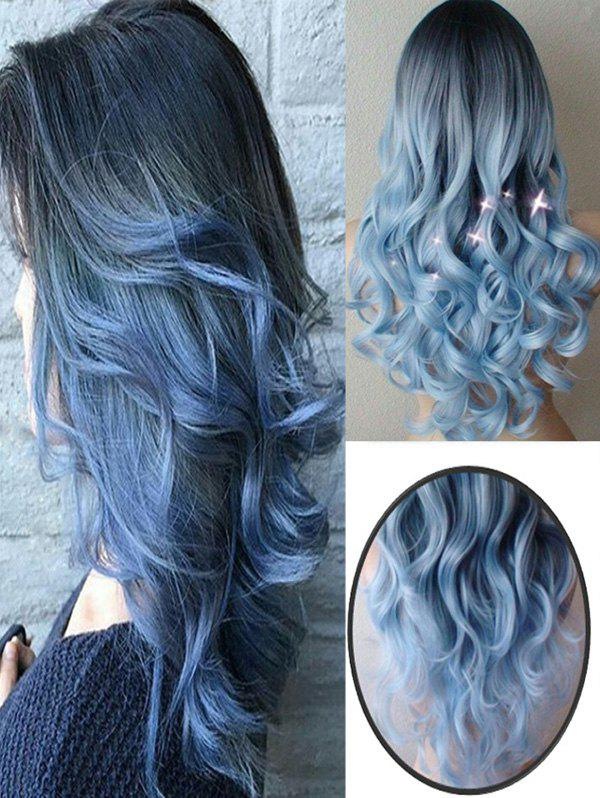 Long Center Parting Colormix Loose Wave Cosplay Synthetic Wig - BLUE 24INCH