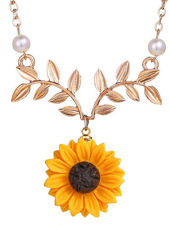 Sunflower and Branch Pattern Necklace - ROSE GOLD