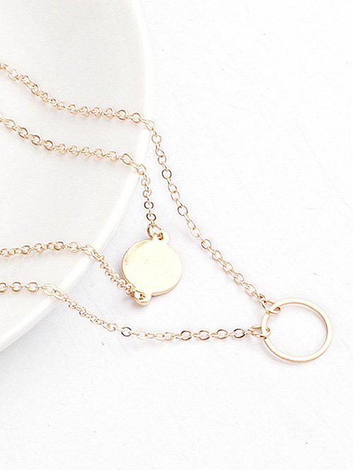 Layered Design Round Shape Pendant Necklace - GOLD
