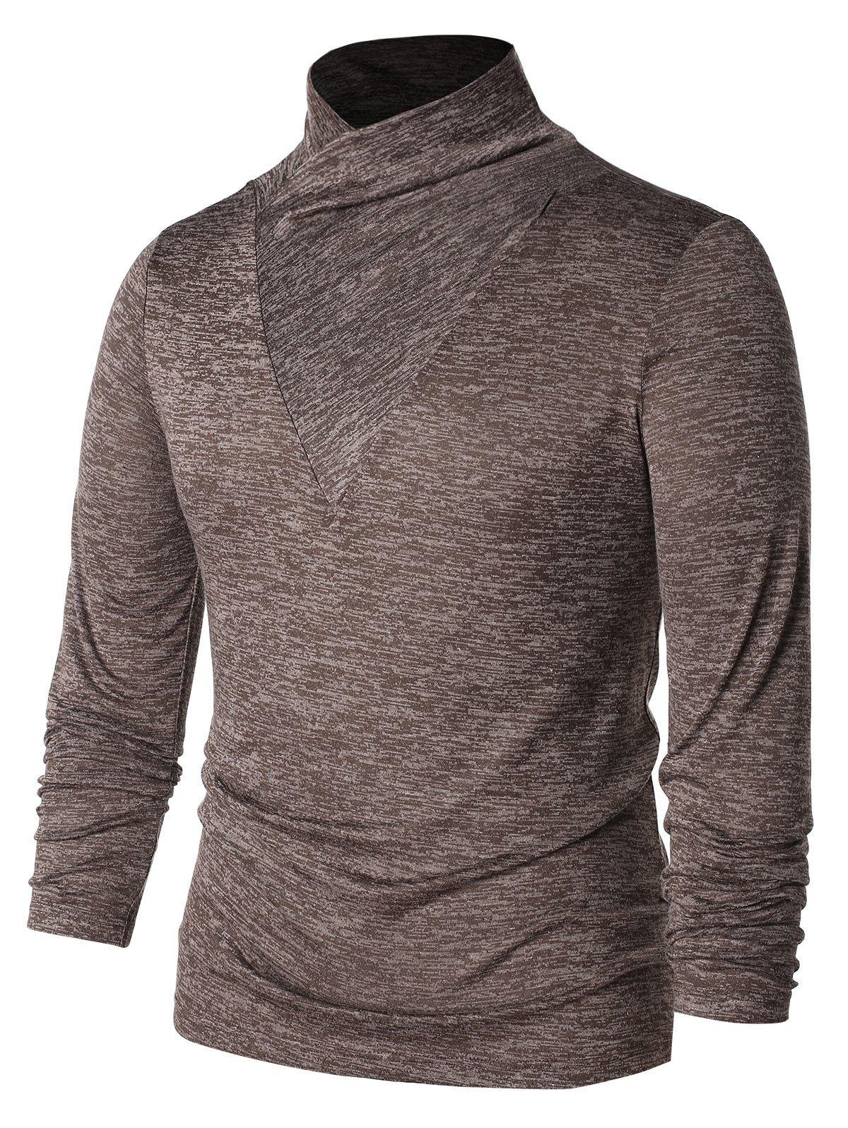 Shawl Collar Long Sleeve T-shirt - BROWN XL