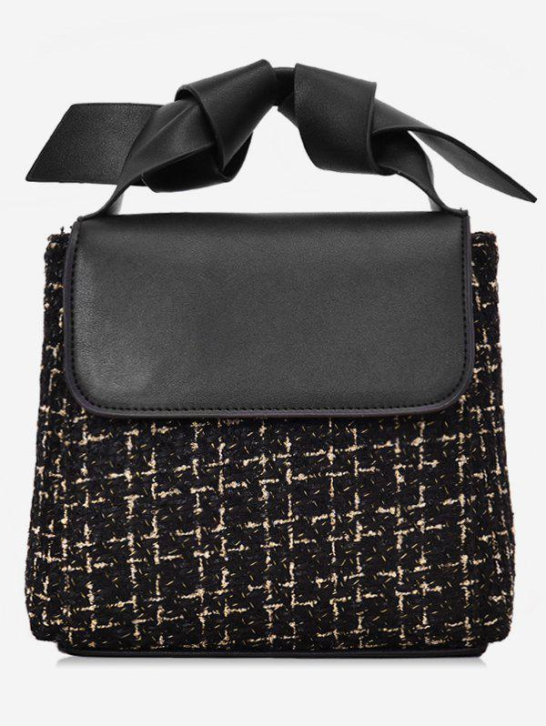 Color Block Plaid Design Handbag - BLACK