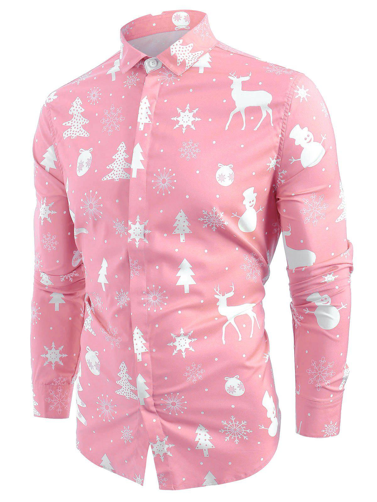 Christmas Elements Print Hem Curved Button Up Shirt - PINK S