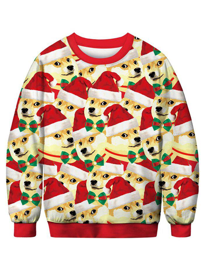 Dog with Christmas Hat Printed Pullover Sweatshirt - multicolor M