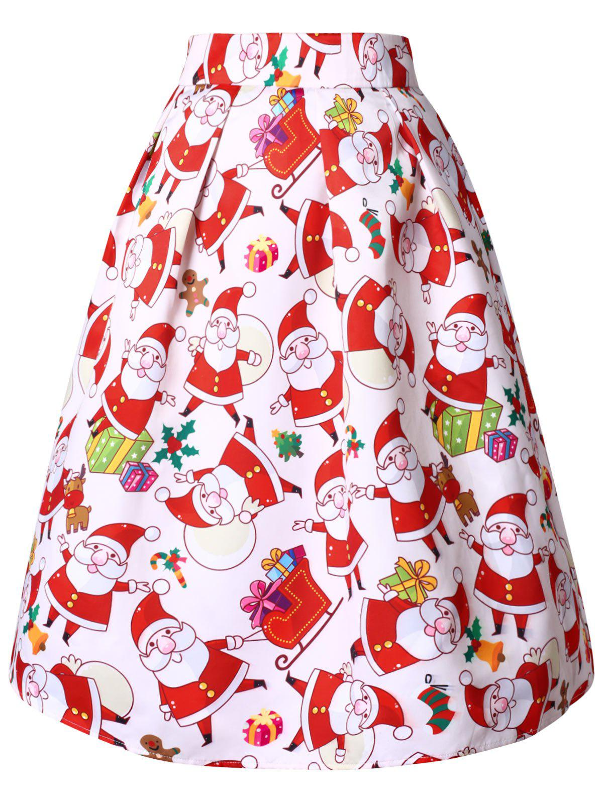 Plus Size High Waisted Santa Claus Print Christmas Skirt фото