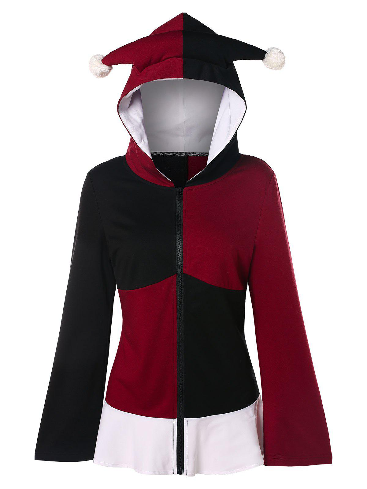 Lace Up Color Block Gothic Hoodie - multicolor 2XL