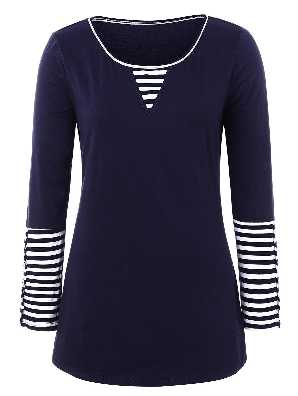 Plus Size Buttoned Sleeve Striped T-shirt