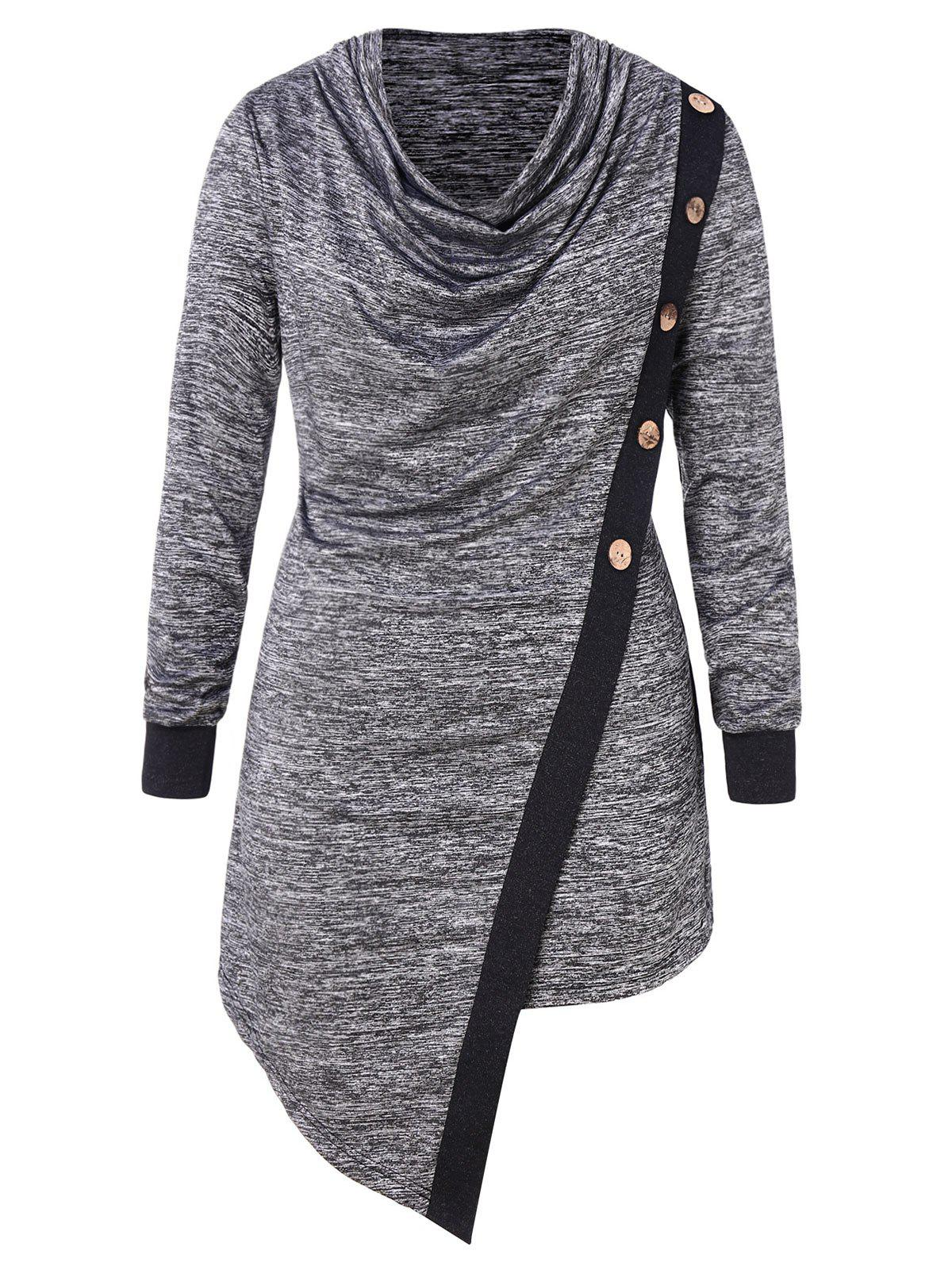 Plus Size Buttoned Side High Low T-shirt - CARBON GRAY 4X