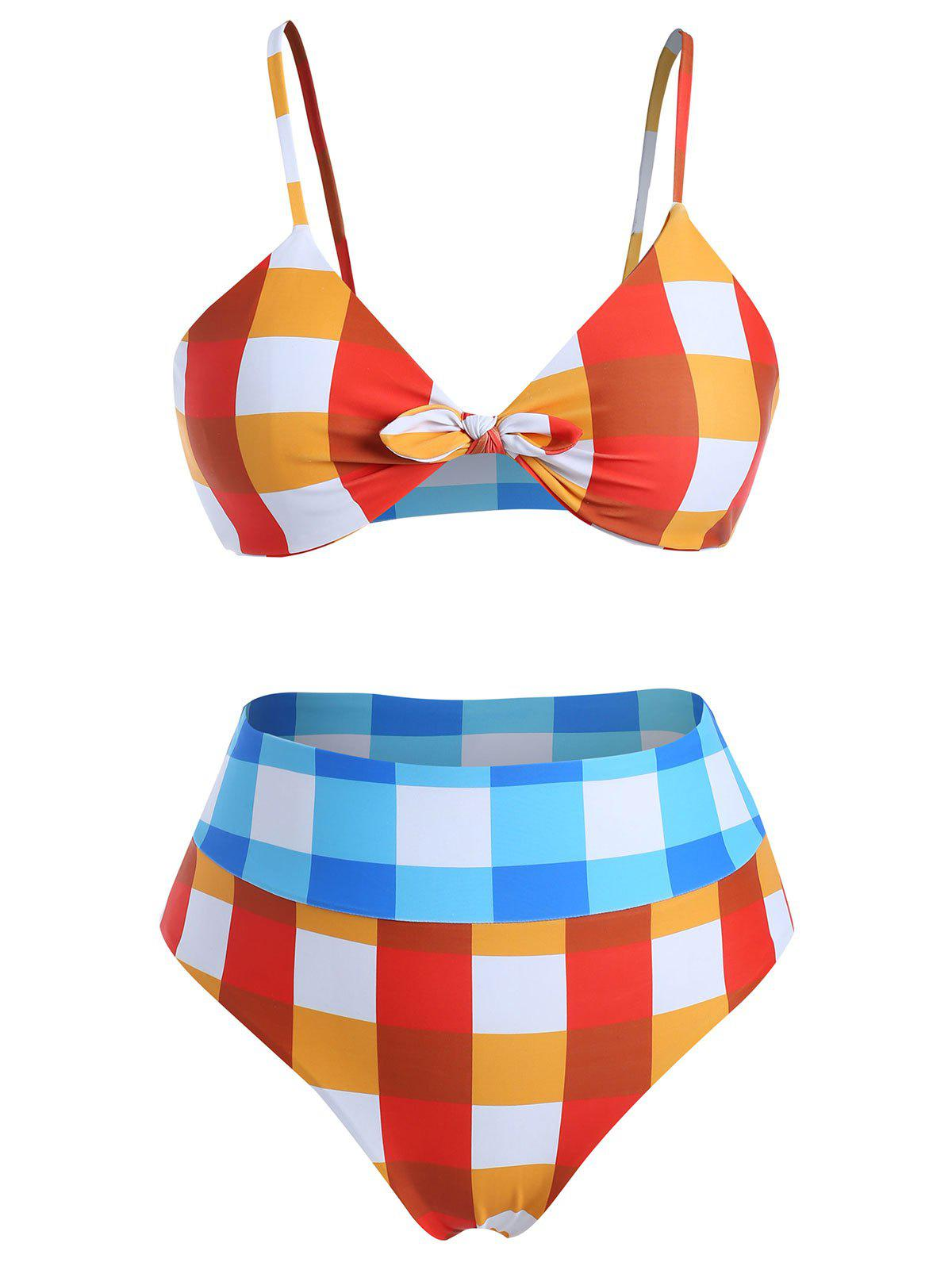 Plus Size Knotted Gingham Bikini Set