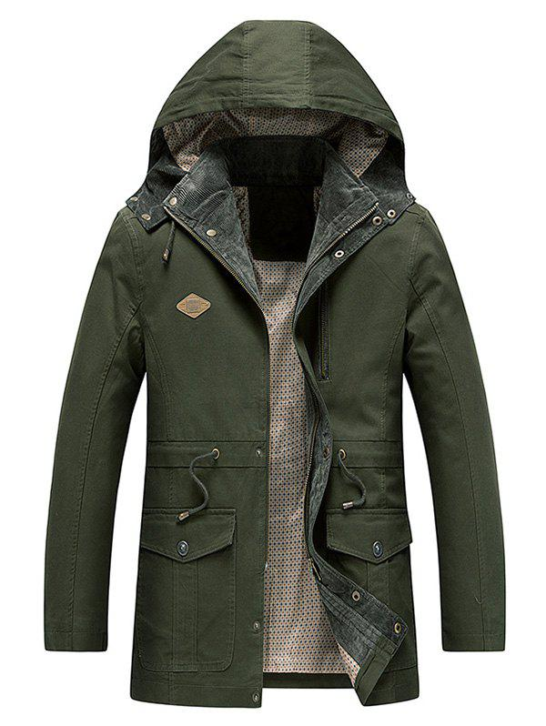 Draw String Waist Zip Fly Hooded Jacket - ARMY GREEN XS