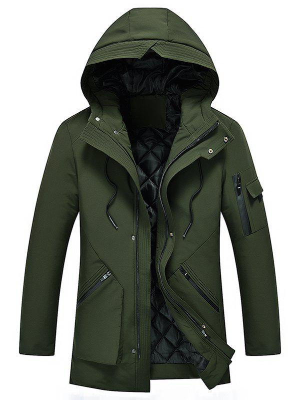 Zip Spliced 3D Pocket Embellish Hooded Padded Coat - ARMY GREEN XS