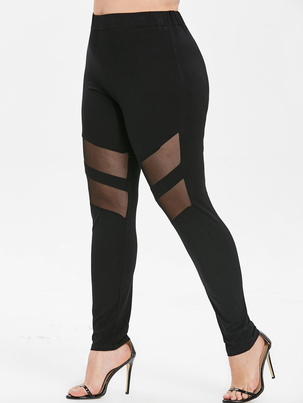 Plus Size Mesh Insert Skinny Leggings - BLACK L