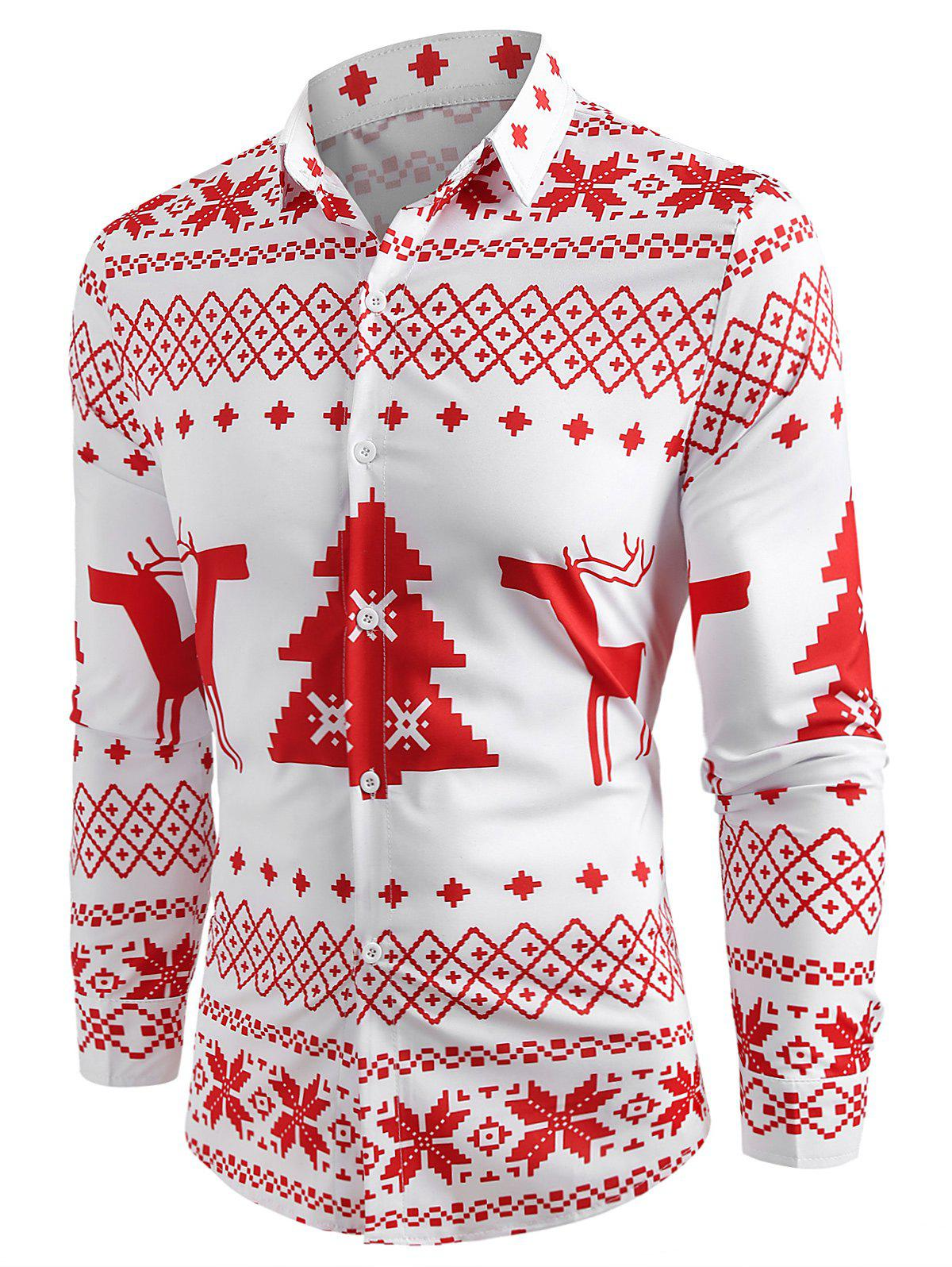 Christmas Geometry Pattern Long Sleeve Shirt - RED XL