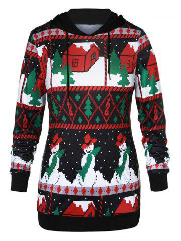Plus Size Front Pocket Christmas Graphic Hoodie
