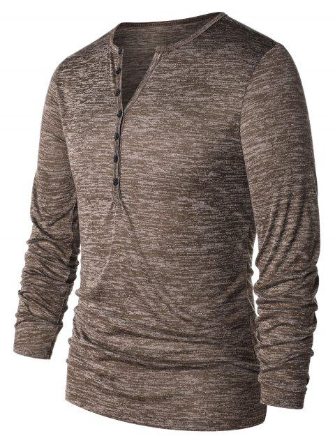 Casual Long Sleeve Henley T-shirt - COFFEE XL