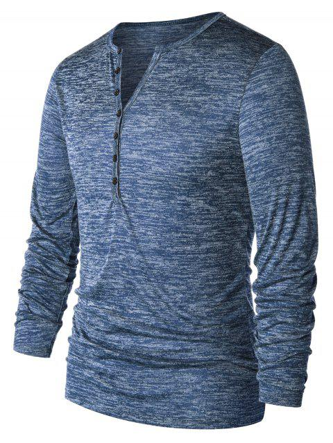 Casual Long Sleeve Henley T-shirt - LIGHT AQUAMARINE M