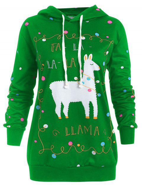 Plus Size Christmas Pattern Polka Dot Hoodie - GREEN L