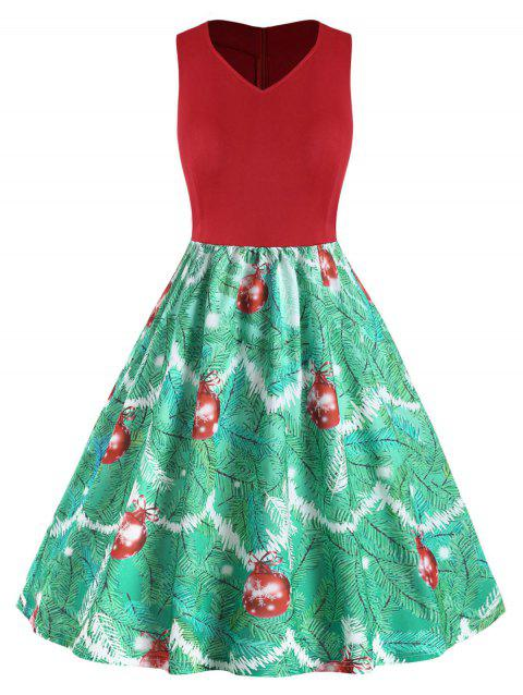 Plus Size Vintage Christmas Printed Flare Dress - RED 2X